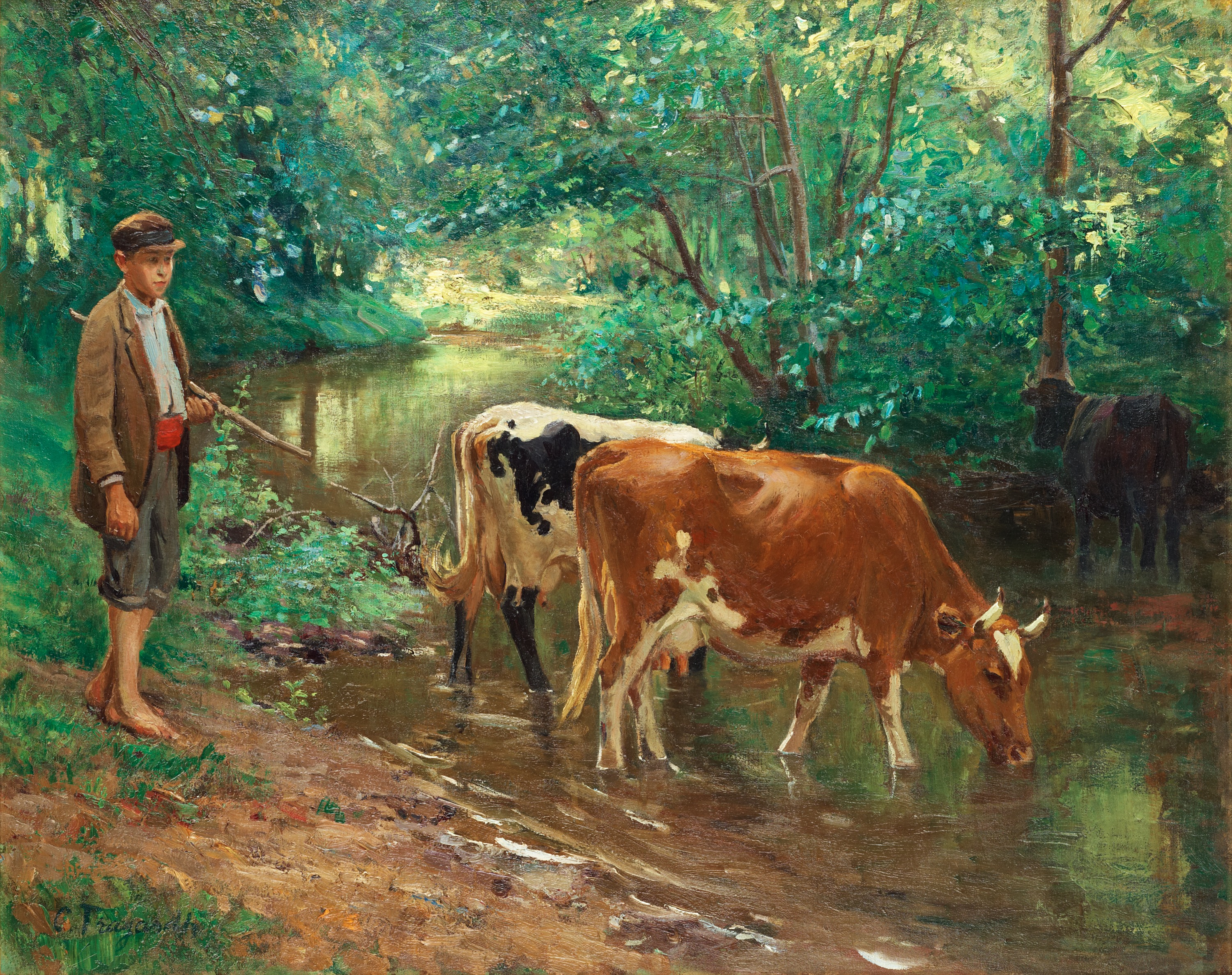 CARL TRGRDH Young Herdsman With Cattle