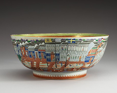 A massive chinese export 'hong' punch bowl, qing dynasty, qianlong (1736-95).