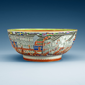1594. A massive Chinese Export 'Hong' punch bowl, Qing dynasty, Qianlong (1736-95).