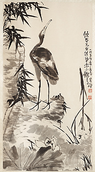 "1551. Li Kuchan, ""Crane, Cliff, Bamboo and Lotus"", a fine hanging scroll, signed and dated 1959."