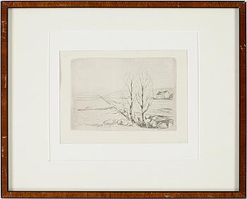 EDVARD MUNCH, torrnålsgravyr, 1908, ej sign.