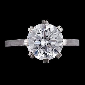 1023. A brilliant cut diamond ring, 3.01 ct.