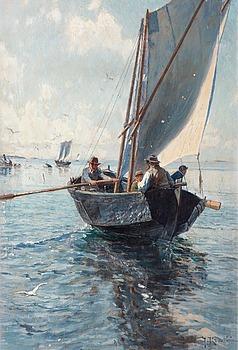 16. Johan Krouthén, Fishermen in a boat.
