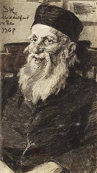 186. PEDER SEVERIN KRÖYER, Porträtt av en gammal man på Middelfart mentalsjukhus.
