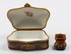 Skrin samt dosa, porslin. 1800-tal. sévresliknande märke.