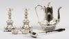 Parti nysilver, 6 delar, rokokostil resp empirestil, bla england, tidigt 1900-tal.