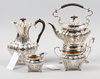 Kaffeservis, 4 delar, nysilver, rokokostil, england, 1900-talets första hälft.