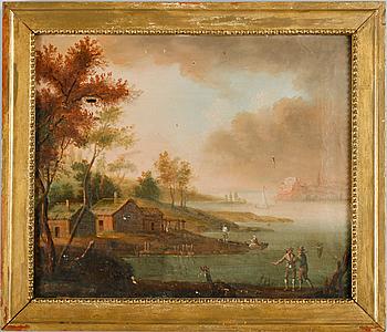 JOHAN PHILIP KORN, hans art, olja på duk, 1700-/1800-tal.