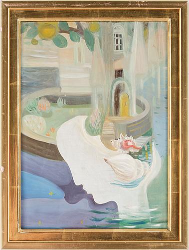 Anna-lisa thomson, olja på pannå, sign o dat a tergo 1946.