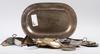 Parti nysilver, 15 delar, bla ag dufva, 1800-1900-tal.