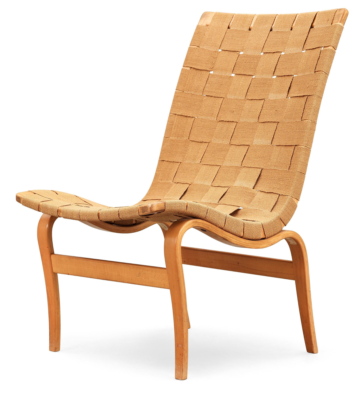 A Bruno Mathsson beech and canvas easy chair Eva Karl Mathsson