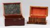 Skrin, 2 st samt rakspegel, trä, 1800-tal.