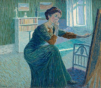 13. Agnes Cleve, Self portrait by the easel.