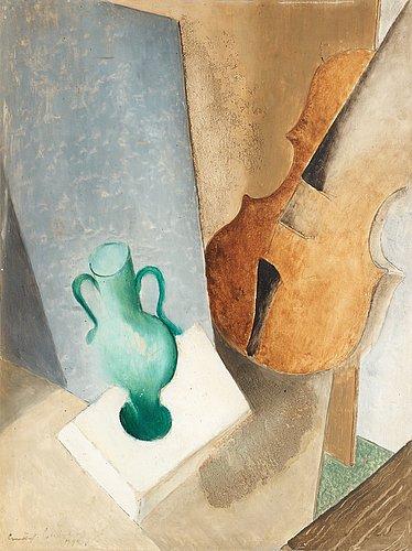 Gustaf carlström, still life with green vase and violin.