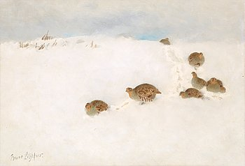 BRUNO LILJEFORS, Partridges in snow. Signed Bruno Liljefors. Canvas 35 x 50 cm.