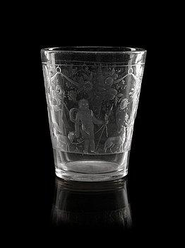 835. A German engraved beaker, 18th Century.
