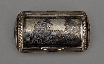 326911. SNUSDOSA, silver, otydl stadsstämpel, sannolikt Moskva, 1827. Vikt ca 110 gram.