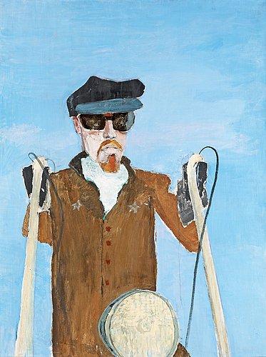 """Ulf gripenholm, """"kamrat himmel motorcykel"""" / """"kamratporträtt"""" (portrait of a friend)."""