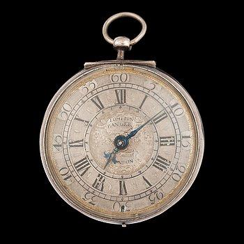 1431. FICKUR, spindelur, Thomas Tompion, London, silver, tidigt 1700-tal.