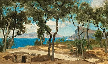 "OLOF ARBORELIUS, Forest glade on the italian coast. Signed O. Arborelius. Inscribed and numbered on verso ""O. ..."