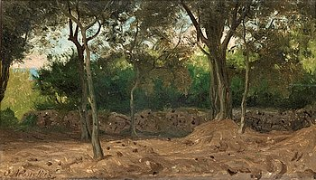 OLOF ARBORELIUS, Forest glade with wall, scene from the italian coast.