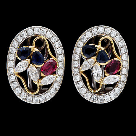 A pair of sapphire, ruby and diamond earrings, tot. app 1.60 cts.