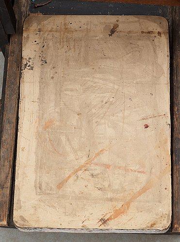 """Litografisk handtryckpress, s.k. """"rivarpress""""."""