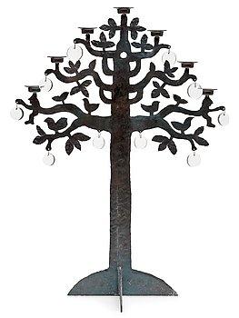 A Bertil Vallien iron work candelabrum, Boda Smide, Sweden.