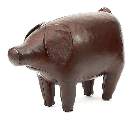 A brown leather figure of a pig, dimitri omersa & co for svenskt tenn.