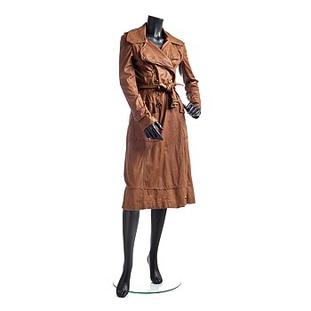 366. BURBERRY, a brown leather trenchcoat.