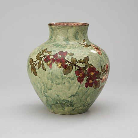 A John Bennett Art Pottery Vase Painted With Cherry Blossom