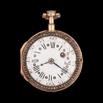 1427. FICKUR, Romilly, spindelur, kvartrepeter, guld, rosenstenar och emalj med miniatyr. Paris 1700-talets slut.