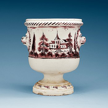 851. A Swedish Rörstrand faience champagne cooler, 18th Century.