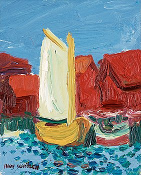 115. Inge Schiöler, Coastal motif with yellow sailing boat.