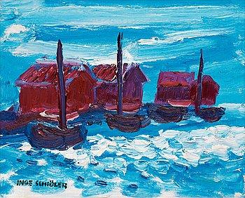 116. Inge Schiöler, Costal motif with boathouses.