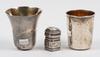 BÄgare samt svampdosa, 3 st, silver, sverige, frankrike/holland, mellanöstern. 1800-1900-tal.