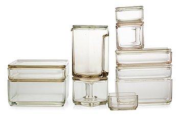 551 a wilhelm wagenfeld set of ten 39 kubus 39 stackable storage glass. Black Bedroom Furniture Sets. Home Design Ideas