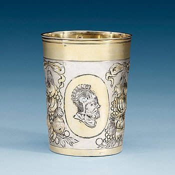 969. A German 17th century parcel-gilt beaker, makersmark of Balthazar Haydt, Augsburg, 1670.