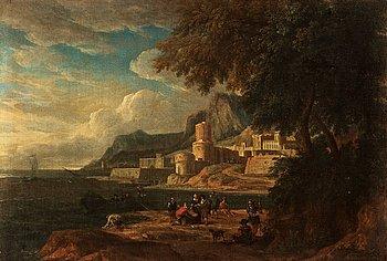 863. LUCAS DE WAEL Hans krets, Klassiskt landskap med figurer vid borg.