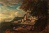 Lucas de wael circle of, landscape with figures and a castle.