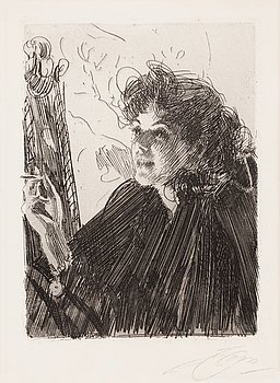 """166. Anders Zorn, """"Girl with a Cigarette II""""."""