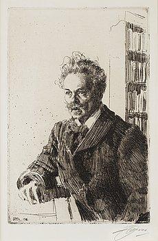 """167. Anders Zorn, """"August Strindberg""""."""