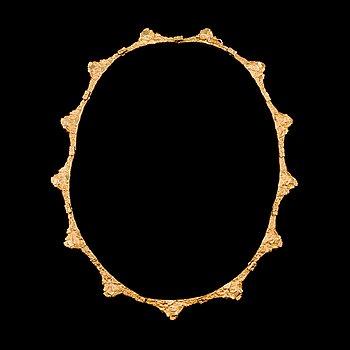 301. BJÖRN WECKSTRÖM, KAULAKORU, kultaa 18K, sign. BW, Lapponia 1971. Paino 36,8 g.