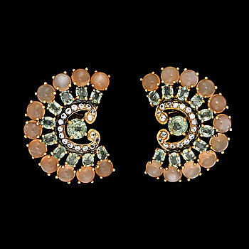 7. A pair of moonstone, green and white sapphire earrings.