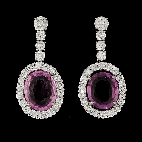 A pair of pink sapphire, tot. 3.83 ct, and brilliant cut diamond earrings, tot. 1.58 cts