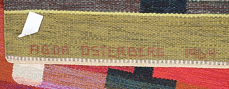 Carpet. flat weave and tapestry weave (rölakan and gobelängteknik). 603 x 270 cm. signed aö woven as well as agda österberg 1964 embroidered at the back.