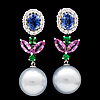 A pair of sapphire, tsavorite and cultured south sea pearl earrings.