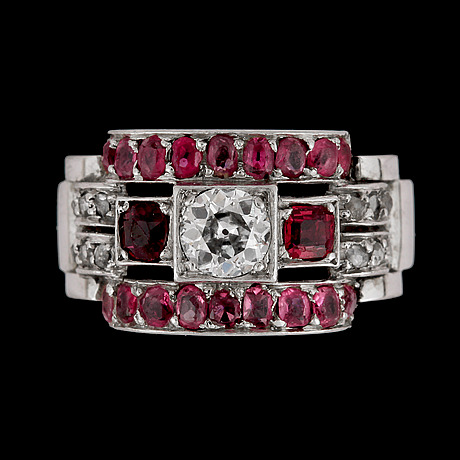 An old cut diamond, tot. app. 0.40 cts and ruby ring, strömdahl stockholm