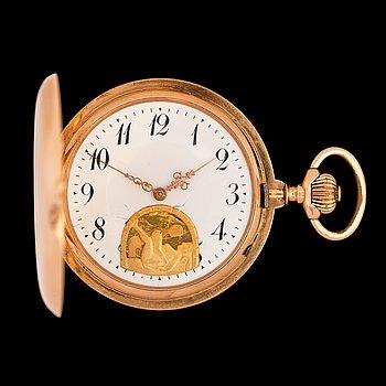 1438. FICKUR, guld, 1890-tal. Erotiskt motiv.