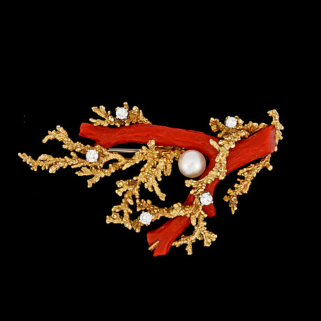 A koral, pearl and brilliant cut diamond brooch, 1970's.